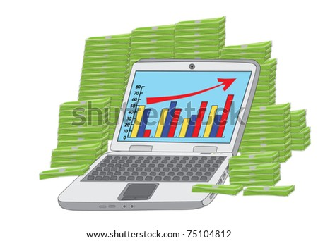 huge income: laptop in front of heap of money vector illustration