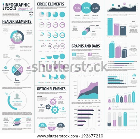 Huge infographics vector elements designers set - stock vector