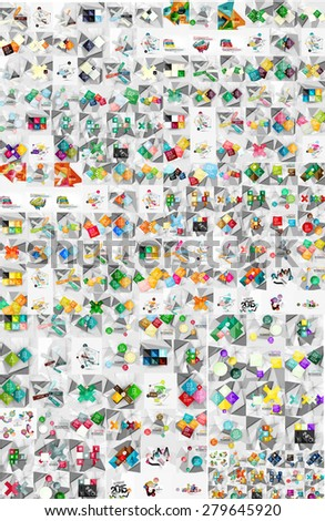 Huge mega collection of abstract geometric paper graphic layouts. Universal backgrounds, presentation templates or web covers - stock vector