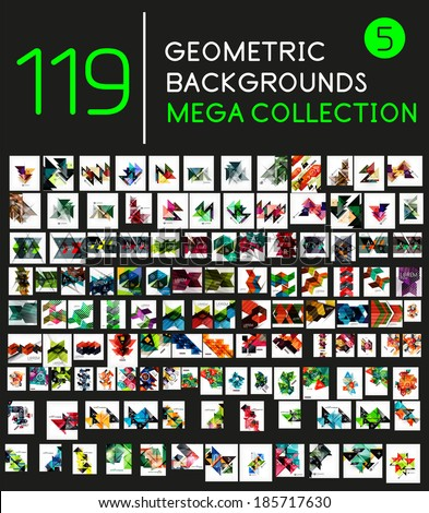 Huge mega collection of 119 geometric shape abstract backgrounds - stock vector