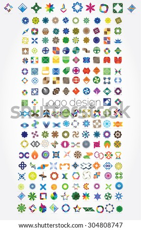 Huge mega set of abstract company logos mega collection, concepts swirls waves.Business abstract set of 194 logo designs,vector illustration.Unusual icons - isolated on white background,abstract icon