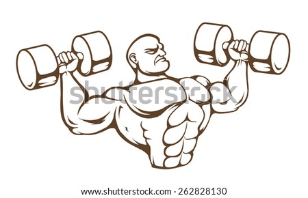 Huge muscular dude isolated on white background. Vector art. - stock vector