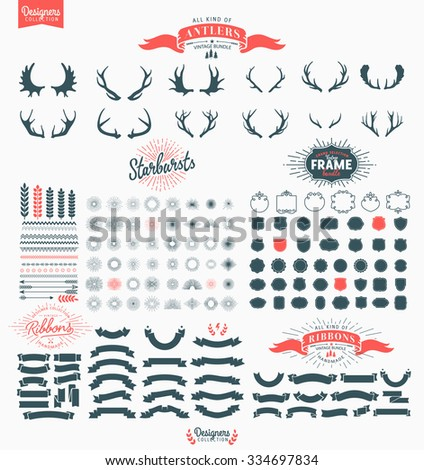 Huge Premium design elements. Great for retro vintage logos. Starbursts, frames and ribbons - Designers Collection  - stock vector