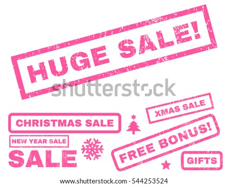 Huge Sale! rubber seal stamp watermark with additional images for Christmas and New Year offers. Tag inside rectangular shape with grunge design and unclean texture. Vector pink emblems.