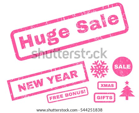 Huge Sale rubber seal stamp watermark with bonus banners for Christmas and New Year offers. Caption inside rectangular banner with grunge design and scratched texture. Vector pink signs.