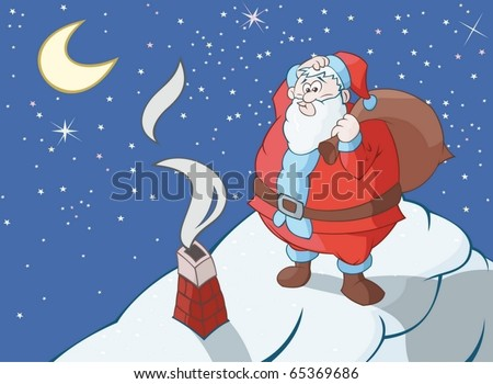 Huge Santa Claus is thinking how to get through narrow flue - stock vector