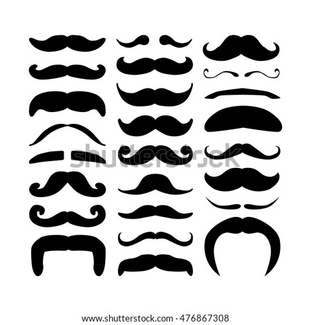 Huge set of black silhouette hipster vector mustaches. Collection of men`s retro mustache. Hairstyles for barber, avatars, cards and other pictures. Vector illustration isolated on a white background.