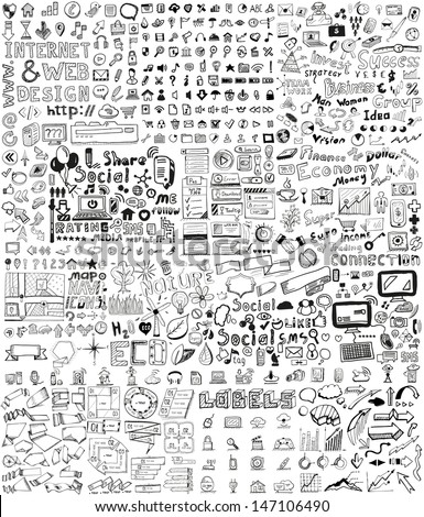 Huge set of business, social, technology hand drawn elements / doodles - stock vector