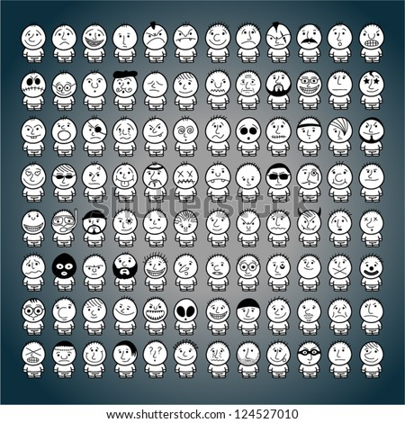Huge set of funny hand drawn characters. - stock vector