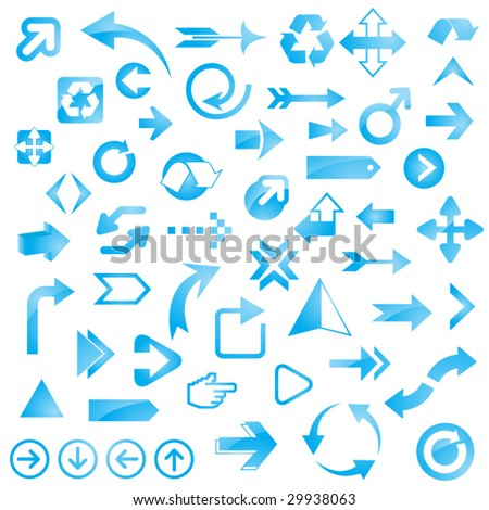 Huge Set of Glossy Blue Arrows - stock vector
