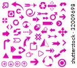 Huge Set of Glossy Purple/Pink Arrows - See other color sets! - stock vector