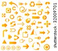 Huge Set of Glossy Yellow/Orange Arrows - See other color sets! - stock vector