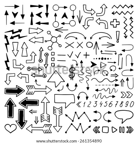 Huge set of hand drawn elements. Arrows, lines, graphics, letters and others.