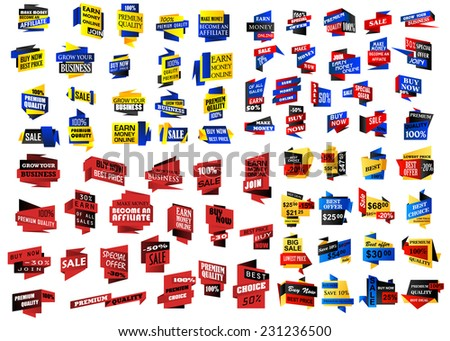 Huge set of retail, store and sale banners promoting and marketing sales, products, bargains and best buys, vector illustration isolated on white - stock vector