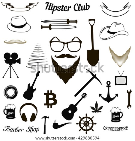 Huge set of vintage styled design hipster icons  - stock vector