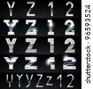 Huge Silver chrome and aluminium vector alphabet set. 4 types. Set # 7 - stock vector