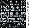 Huge Silver chrome and aluminium vector alphabet set. 4 types. Set # 10 - stock vector