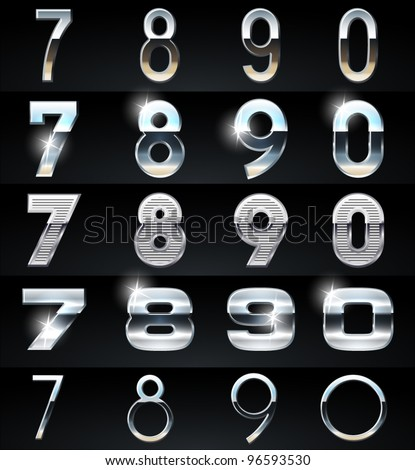 Huge Silver chrome and aluminium vector alphabet set. 4 types. Set # 9 - stock vector