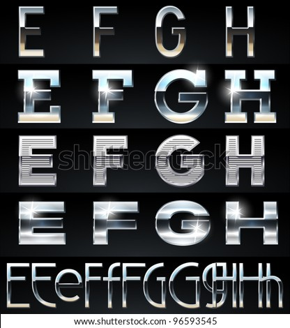 Huge Silver chrome and aluminium vector alphabet set. 4 types. Set # 2 - stock vector