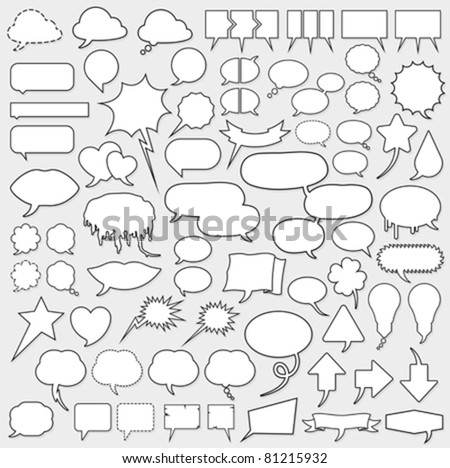 Huge vector cartoon speech bubble set with blank copy space and black outlines