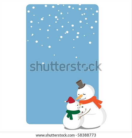 Hugging snowman and snow kid card - stock vector