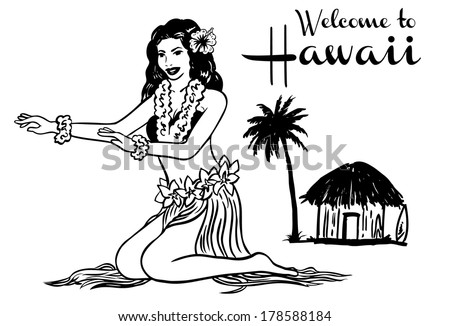 Hula dancer, vector - stock vector