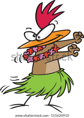 Hula dancing cartoon chicken