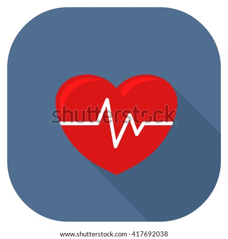 Human anatomy organ heart check up or emergency. Vector illustration icon of a human heart with pulse. Heart under medical monitoring. - stock vector
