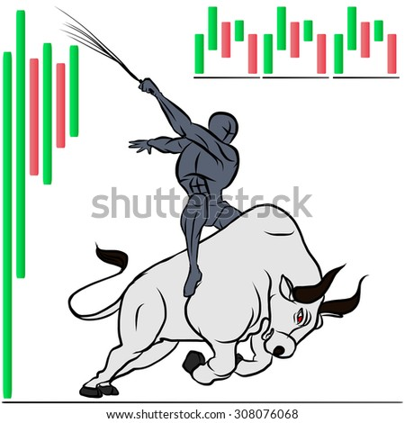 human and bull with stock market graph - stock vector