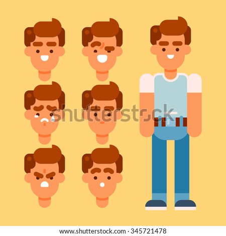 Human and his different emotions: happy, excited, sad, neutral, angry, scared.  Vector flat illustration. - stock vector
