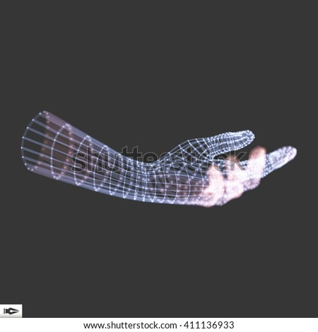Human Arm. Hand Model. 3d Covering Skin. Can be used for science, technology, medicine, hi-tech, sci-fi
