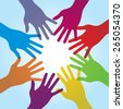Human arms around colorful and next. Concept of cooperation and helps volunteers and human diversity - stock photo
