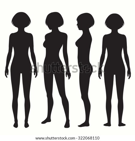 human body anatomy, front, back, side view, vector woman illustration  - stock vector