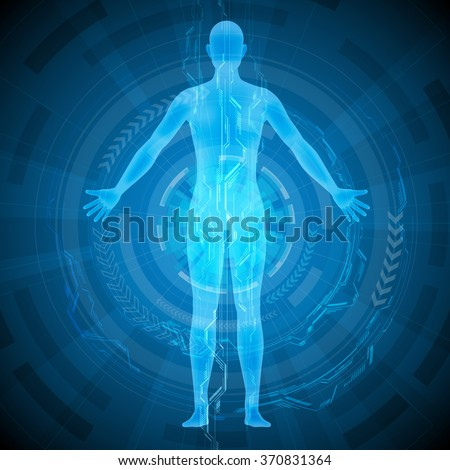 human body and medical technology, abstract image, vector illustration - stock vector