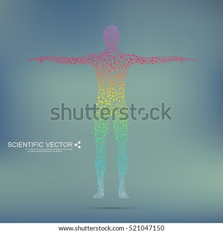 Human body with molecules DNA. Scalable vector graphics.  Medicine, science and technology concept. Abstract background.