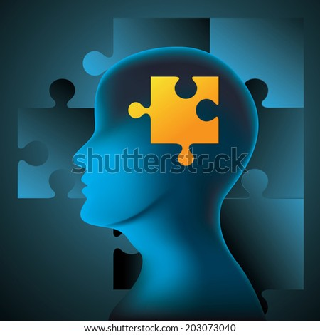 Human brain and jigsaw puzzle. Vector illustration - stock vector