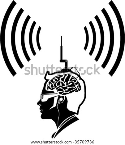 Human Brain Antenna thought waves - stock vector