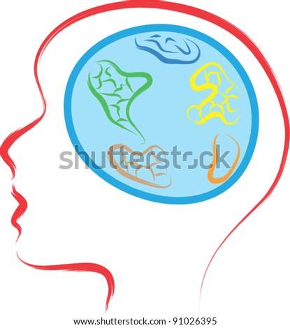 human brain as world globe illustration - stock vector