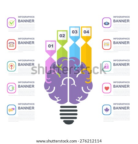 Human Brain Business Solution Concept and Capacity Infographics Arrow Vector Elements Template Design - stock vector