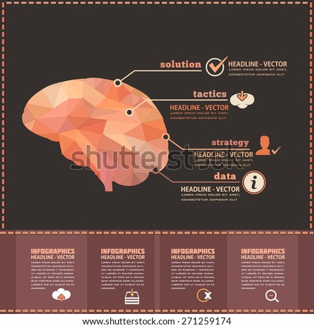 Human Brain Business Strategy and Solution, Numbered Banner Geometric Polygonal, Elements Infographics Vector Design - stock vector