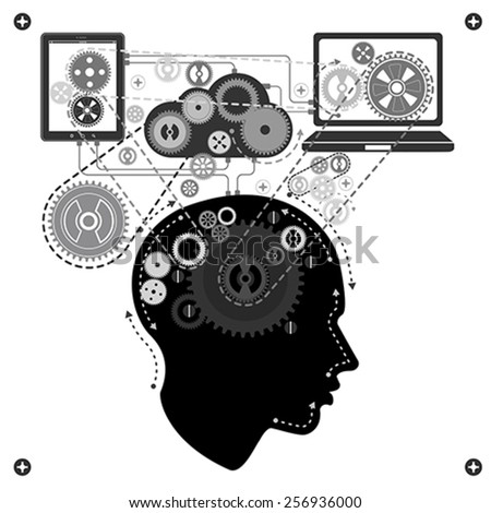 human brain communicating with technology, vector - stock vector
