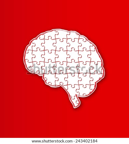 human brain created from puzzle pieces on red background - stock vector