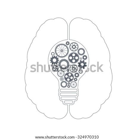 Human brain creating a new idea. Creative bulb with gears. Eps vector for your design. - stock vector