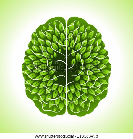 human brain, green thoughts - stock vector