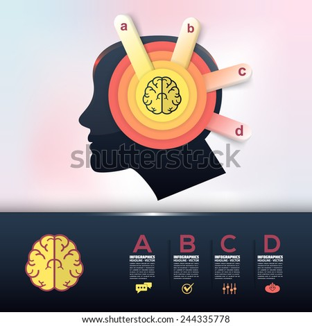 Human Brain Health and Capacity Concept Infographics Arrow Vector Elements  - stock vector