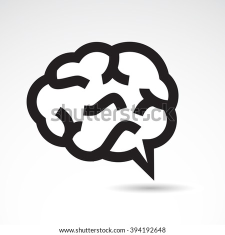 Human brain icon on white background. Vector art. - stock vector