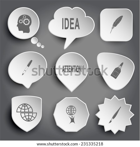Human brain, idea, feather, ink pen, attention, glue bottle, shift globe, little man with globe, brush. White vector buttons on gray. - stock vector