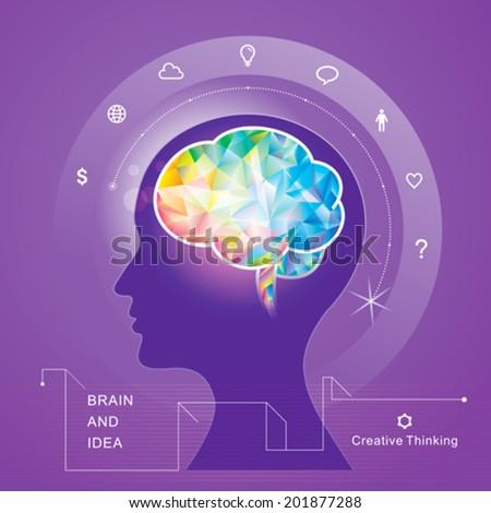 Human brain idea geometric infographics design. vector. - stock vector
