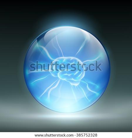 Human brain in a glass ball. Stock vector illustration. - stock vector