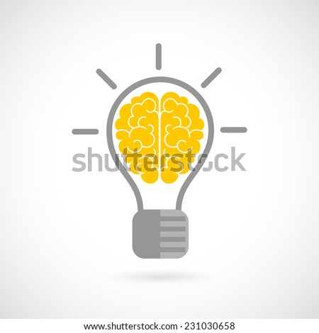 Human brain in lightbulb idea concept flat icon isolated on white background vector illustration - stock vector